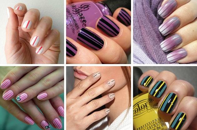 Разноцветые полоски на ногтях