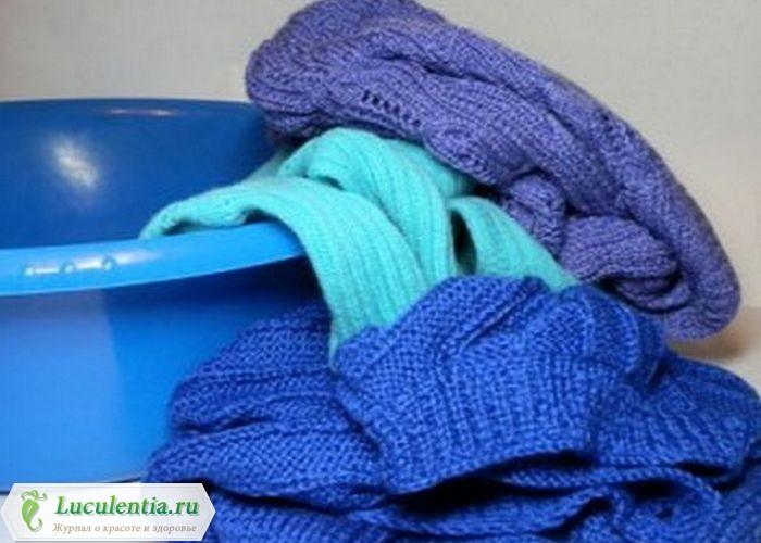 Шерстяной свитер в тазу