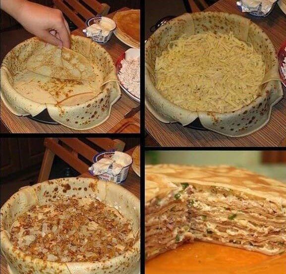 Процесс приготовления блинного пирога с грибами