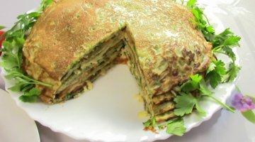 Рецепт: блинный пирог с грибами