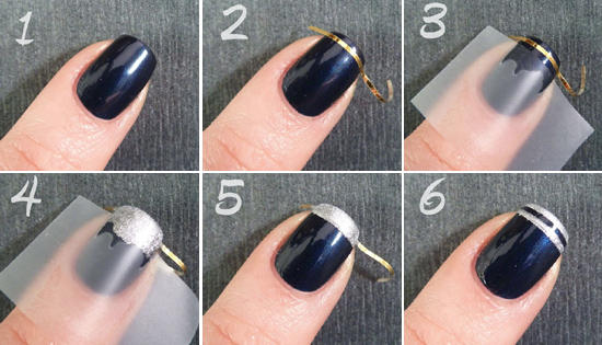 Покраска ногтей с полосками