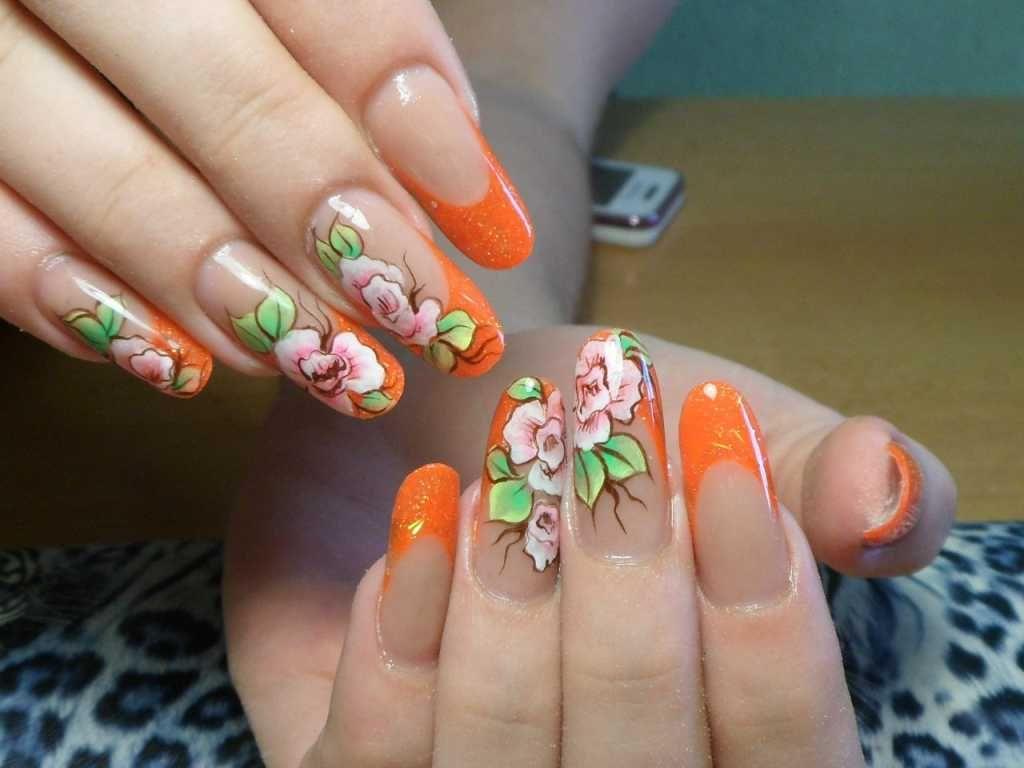 Оранжевая роспись на ногтях в китайском стиле
